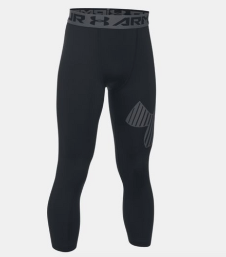 HeatGear® Armour ¾ Logo Boys' Leggings - Black