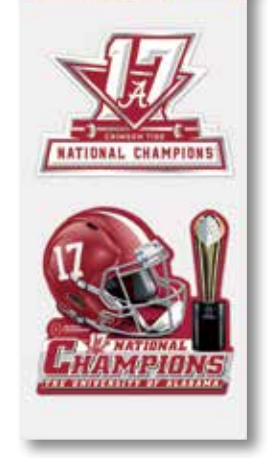 Alabama 2017 National Championship Decals 2-Pack