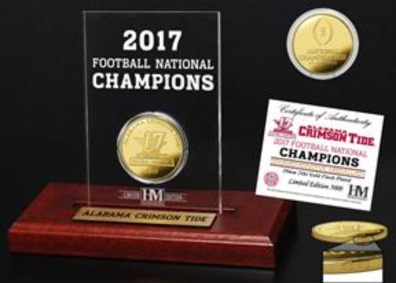 2017 Alabama National Championship Highland Mint Gold Coin Etched Arcylic