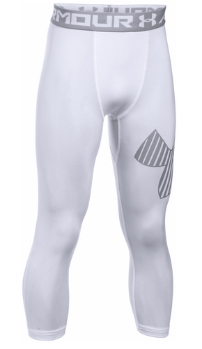HeatGear® Armour ¾ Logo Boys' Leggings - White