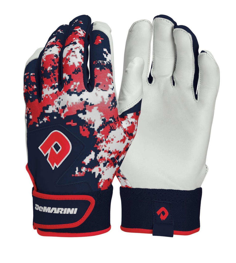 Demarini Youth Digi Camo II Batting Glove - Navy/Scarlet