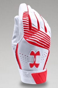 Under Armour Youth Clean Up Batting Glove - White/Red