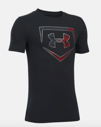 Under Armour Boy's Baseball Logo T-Shirt - Black/Red