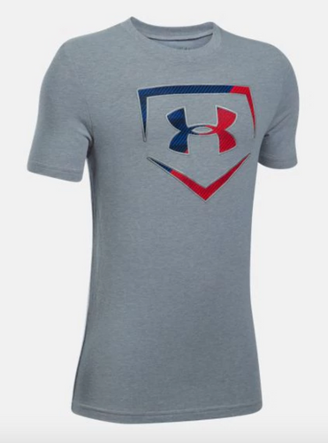 Under Armour Boy's Baseball Logo T-Shirt - Grey