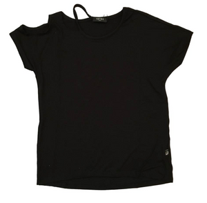 Girls Terez Cut Out Cold Shoulder Tee - Black