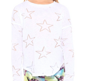 Girls Terez Burnout High Low - White Stars