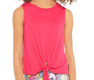 Girls Terez Tie Front Tank - Hot Pink