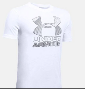Under Armour Youth  Big Logo T-Shirt-grey and white