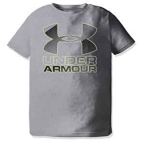 Under Armour Youth  Big Logo T-Shirt-grey and neon green