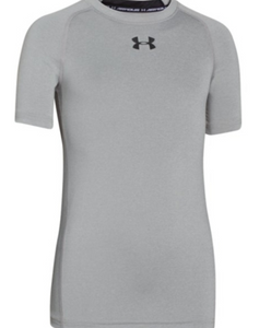 UA HeatGear® Armour Boys Short Sleeve Shirt- Grey