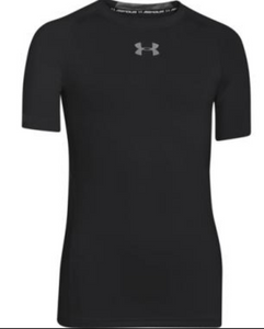 UA HeatGear® Armour Boys Short Sleeve Shirt- Black