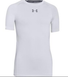UA HeatGear® Armour Boys Short Sleeve Shirt- White