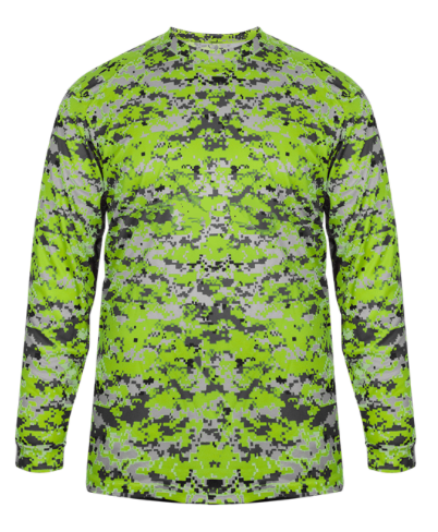 Badger Youth Longsleeve T-Shirt Digital Camo-Neon