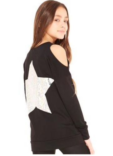 Terez Printed L/S Cold Shoulder