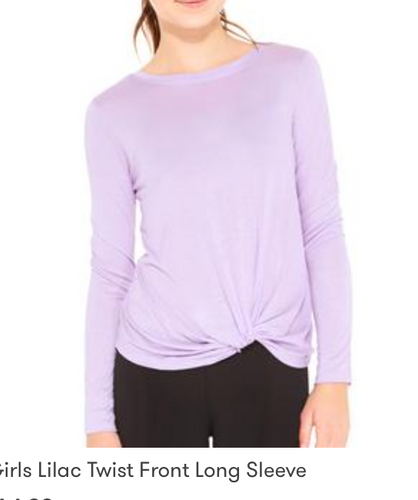 Terez Youth Lilac Rayon L/S Top