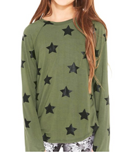 Terez Youth Black Big Star Foil on Army Green L/S Top