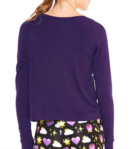 Terez Girls Slash Crewneck Jersey 200 Top - Eggplant