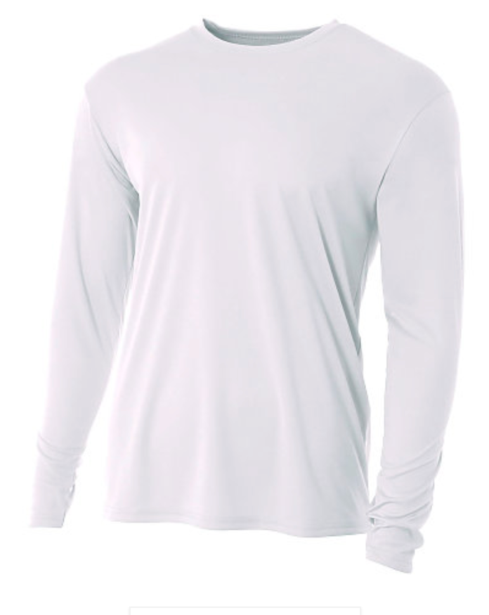 A4 Adult L/S White Performance Shirt