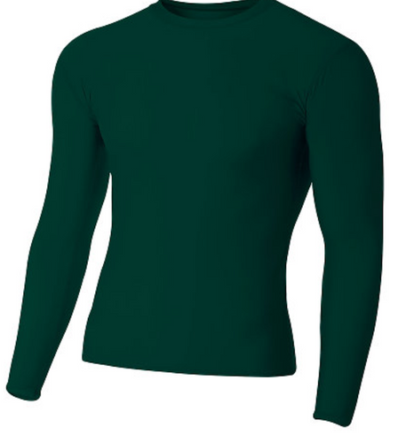 A4 Adult L/S Green Compression Shirt