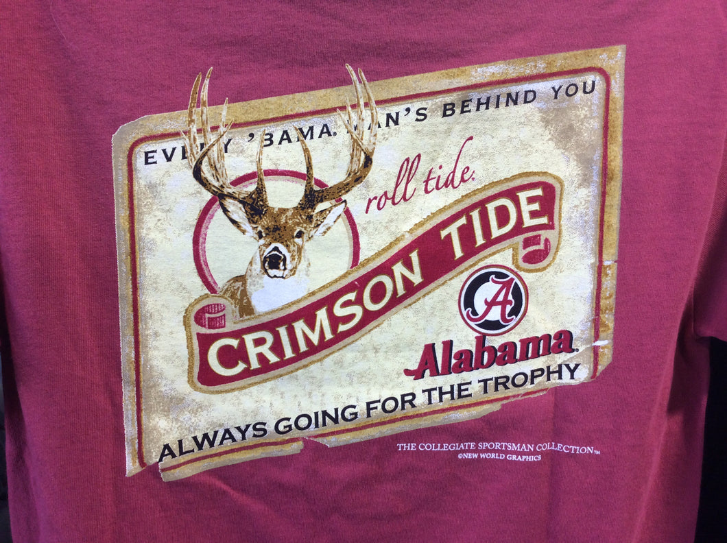 University of Alabama Short Sleeve Comfort Colors Shirt - Red with Deer Head