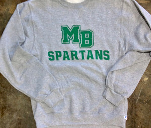 MB SPARTANS Adult Dri-Power Fleece Crew Grey