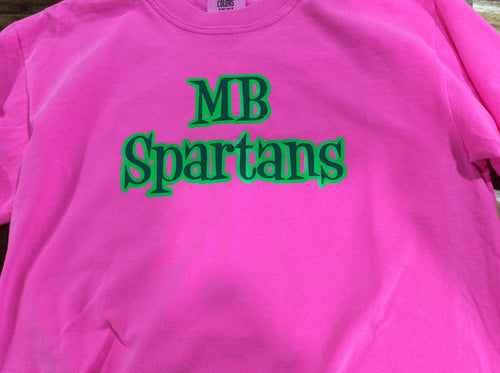 Girls Pink Comfort Colors MB Spartans T-Shirt