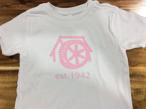 Mtn Brook white T-Shirt with pink old mill/est.1942