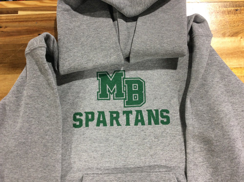 MB SPARTANS Youth Dri-Power Fleece Pullover Hoodie - Sport Grey
