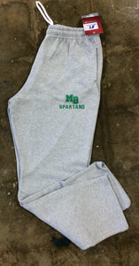 MB SPARTANS Adult Dri-Power Open-Bottom Fleece Sweatpant with Pockets Grey