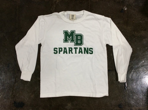 Spartan Pride Youth L/S White Tshirt
