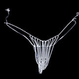 Stonefans Sexy Rhinestone Bralette Underwear Chain Set for Women Fashion Hollow Crystal Body Jewelry Chain Bra and Panties Set