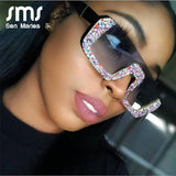 Luxury Crystal Square Sunglasses Women Brand Designer Half Frame Oversized Rhinestone Sunglasses Men Eyeglasses For Female UV400