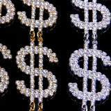 Dollar Sign Crystal Earrings