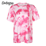 Darlingaga Casual Tie Dye Two Piece Set Women Tracksuit Fashion Summer Top and Biker Shorts Matching Sets Outfits Sportswear New