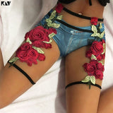 Embroidered Rose Garter Belt