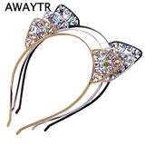 Bezel AWAYTR  Novelty Kids Cat Ears Headband Bezel With EarCrystal Hairband Festival Hair Girls Crown Rhinestone Headdress