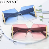 Fashion Oversized Square Rimless Sunglasses Women Brand Designer Flat Top Big Sun Glasses Female One Piece Travel Gafa de sol