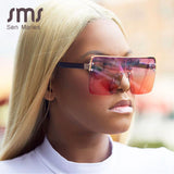 Fashion Oversized Square Sunglasses Women 2019 Brand Designer Vintage Gradient Blue Pink Sunglasses For Women Men Eyewear UV400