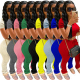 Tracksuits Women Two Piece Set Short Sleeve Shirt Crop Top + Flare Pants Casual Stacked Joggers Bell Bottom Pants Matching Suits 1