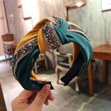 1pc Crystal Wide Headband Vintage Fashion Women's Patchwork Shiny Sequin Hair Hoop Cross Knot Bow Hairband