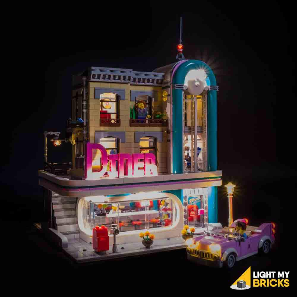 Downtown Diner 10260 Lighting Kit (LEGO Set not included) by Light my Bricks