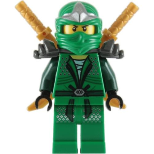 LEGO NINJAGO MINIFIGURE LLOYD ZX (2) GOLD SHAMSHIR SWORDS GREEN NINJA WITH ARMOR