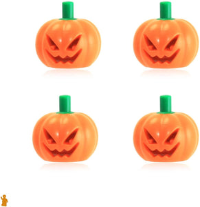 LEGO Halloween Pumpkin with Green Stem Jack O' Lantern Headgear Minifigure Accessory Pack of 4