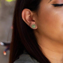 Cannabis Stud Earrings with Rhinestones