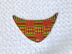 Orange Kente Bandana Bib