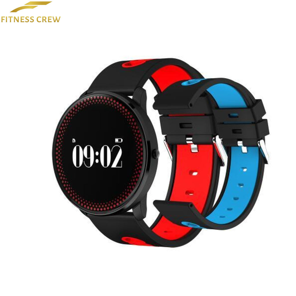 Fitness Bracelet Watch With Heart Rate Monitor And Weather Forecast Reminder Red Blue