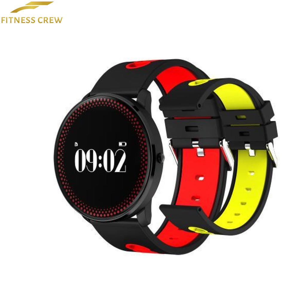 Fitness Bracelet Watch With Heart Rate Monitor And Weather Forecast Reminder Red Yellow