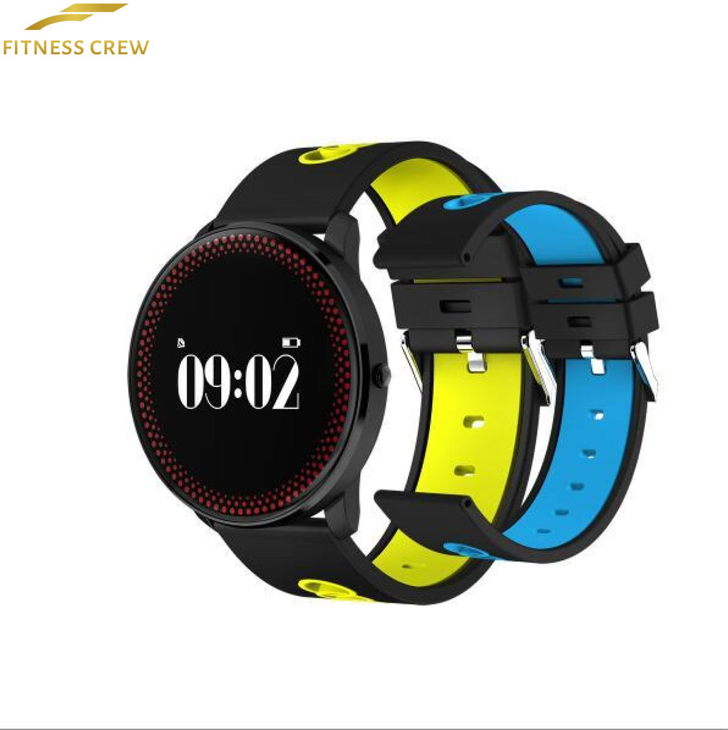 Fitness Bracelet Watch With Heart Rate Monitor And Weather Forecast Reminder Yellow Blue