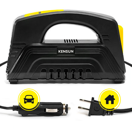 Double power tire inflator for home and garage