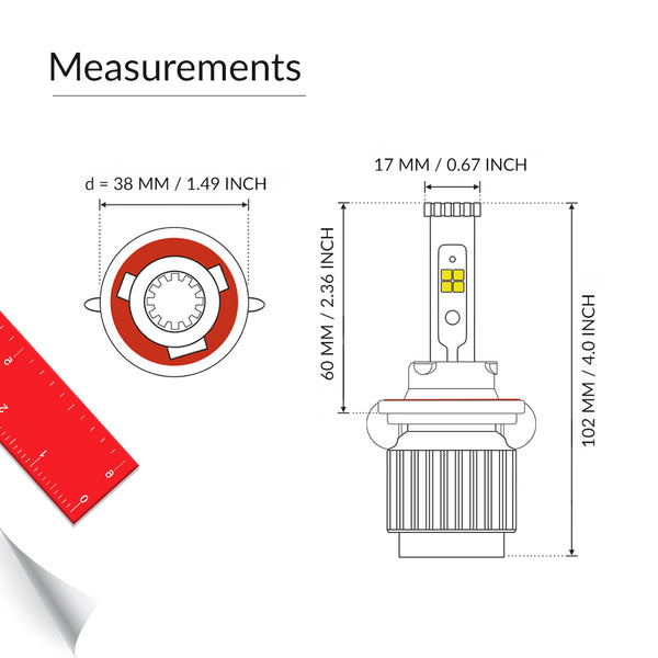 H13 led bulb measurement